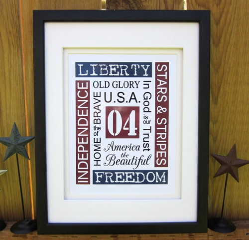 4th of July, free printables, free printable Subway Art, free holiday printables, free 4th of July decorations, Fourth of July printables, free 4th of July Subway art printables