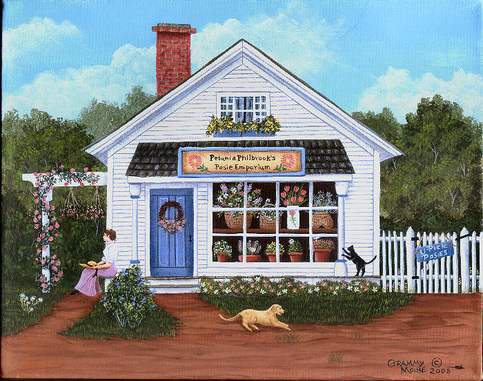 flowers, Maine, flower shop, folk art, Maine, Grammy Mouse, folk artist