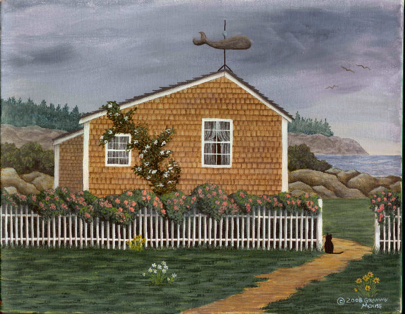 whale, weathervane, cottage, folk art, Grammy Mouse