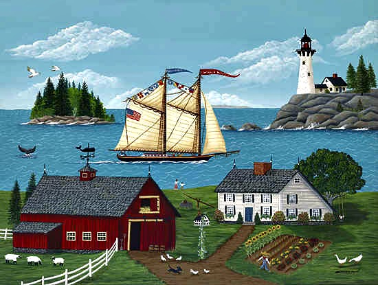 folk art, Grammy Mouse, art, paintings, art prints, lighthouse, Maine, windjammer, saltwater farm