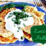 zucchini, zucchini recipe, zucchini recipes, fritters, zucchini fritters, recipe, sauce, dill, chives