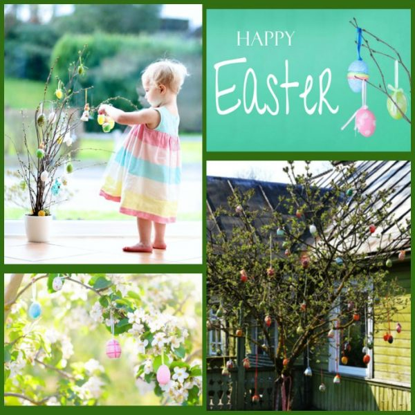 Making a Happy Easter Egg Tree with child, children