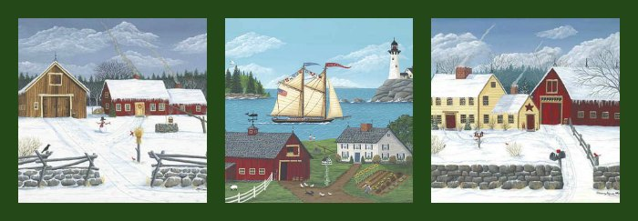 Signed Folk Art Print Set by Maine Folk Artist Grammy Mouse