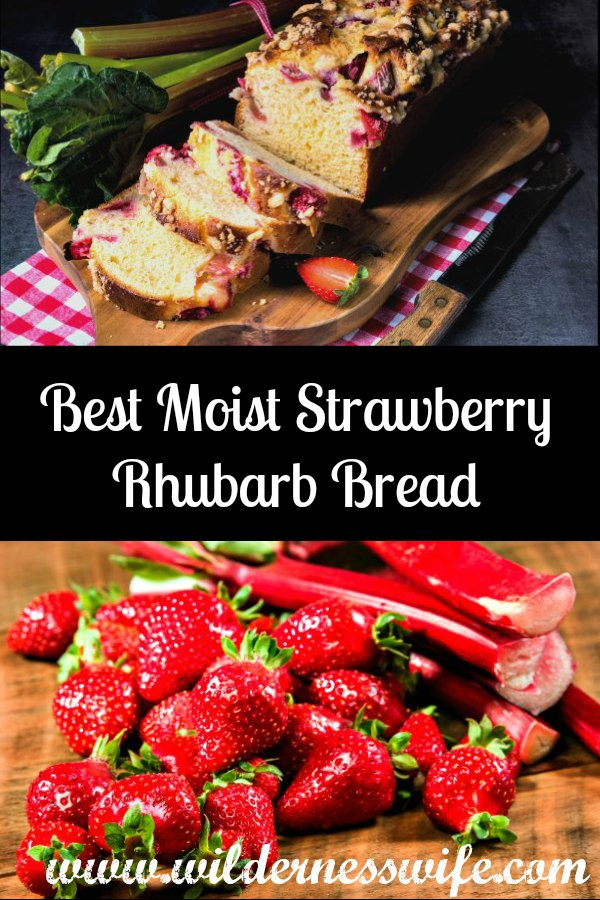 Strawberries and rhubarb ready to make the Best Moist Strawberry Rhubarb Bread
