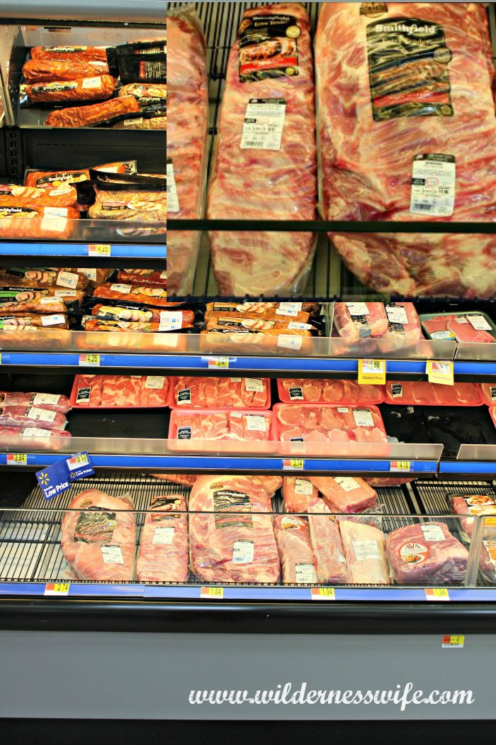 Smithfield® Pork Products at Walmart in refrigerated meat case.