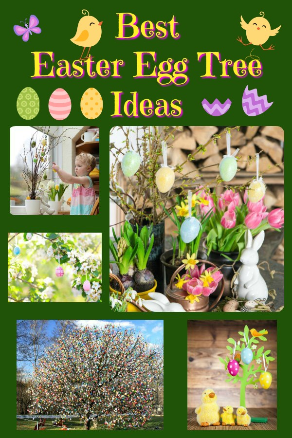 A collage of Easter Egg Tree Ideas and how-to instructions to create your family's Easter Egg Tree.