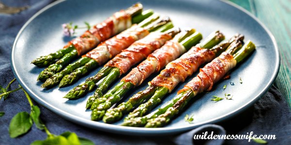 Bacon wrapped asparagus on a blue stoneware platter