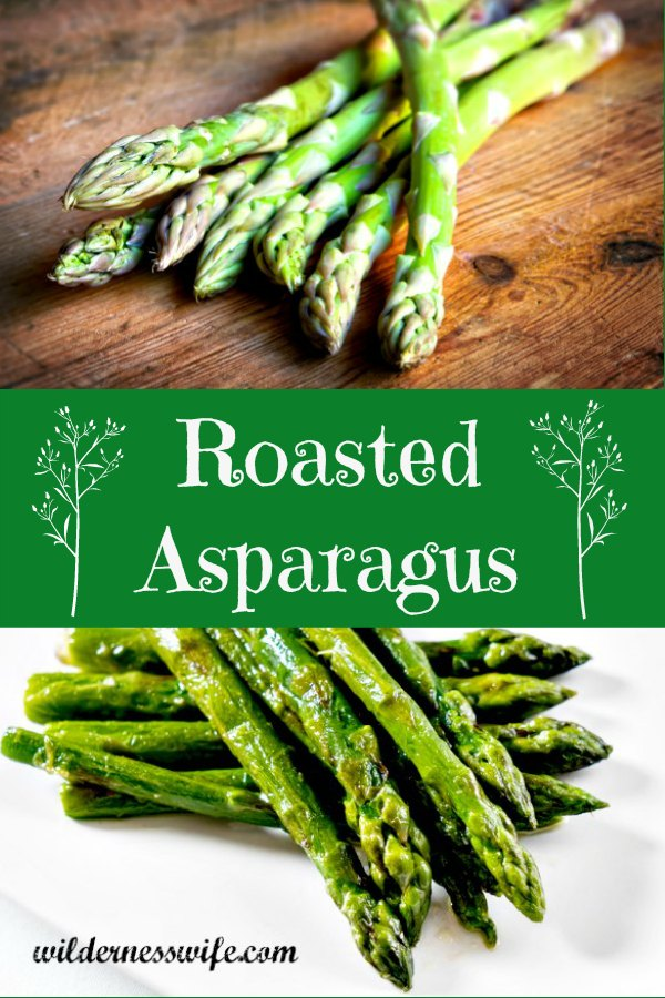 Fresh asparagus on a wooden cutting board and oven roasted asparagus on a white plate.