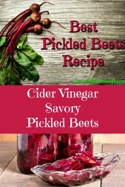 Pickled beets in jars and in dish on wooden table top