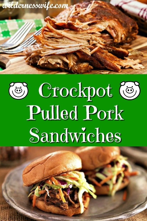 Large Pork Shoulder cooked in crockpot is sitting on the cutting board where it is being shredded with two forks for pulled pork sandwiches