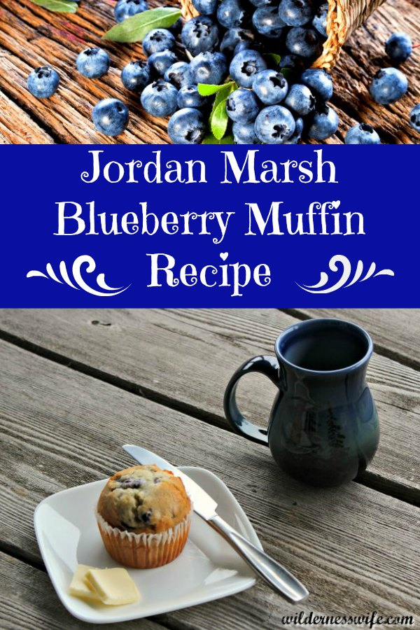 Muffin made from Jordan Marsh Blueberry Muffin Recipe with a cup of coffee