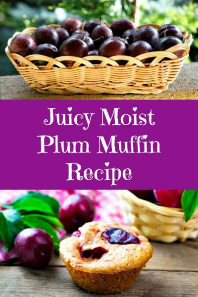 A basket of plums and a juicy plum muffin on a table.