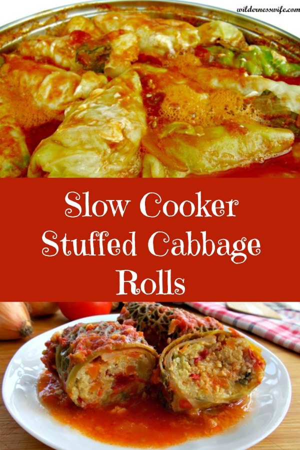 Composite of a close up of cabbage rolls cooking in crockpot and 3 slow cooker stuffed cabbage rolls on a white plte